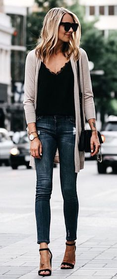black tank top, tan cardigan, jeans
