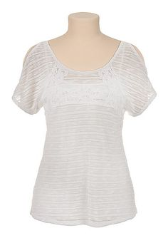 cold shoulder striped top with crochet (original price, $29) available at #Maurices