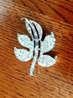 Vintage Silver Rhinestone Leaf Brooch Pin by TimelessTreasuresbyM