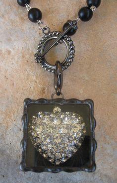 Soldered Rhinestone Heart Box Pendant on Rosary bead by Nanettemc, $20.00