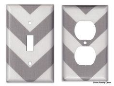 Perfect for our bathroom: Chevron Switch/Outlet Cover Plate - Grey and White