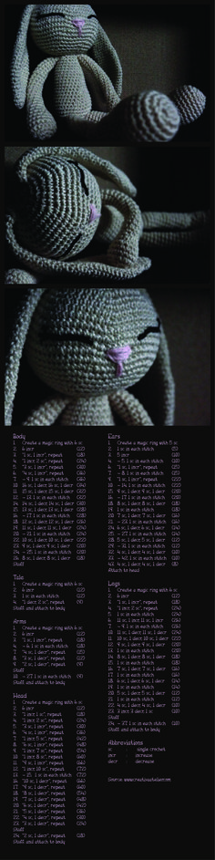 Crochet bunny with pattern. Crochet-hook: 3,5mm.  2 balls of cotton [50 gr; 125m]
