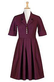 Retro cotton poplin shirtdress