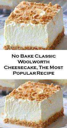 No Bake Woolworth Cheesecake is a classic, light and lemony dessert and will be ., Desserts, No Bake Woolworth Cheesecake is a classic, light and lemony dessert and will be the perfect addition to your Easter or Mother's Day menu! No Bake Desserts, Easy Desserts, Delicious Desserts, Yummy Food, Cheesecake Desserts, Lemon Cheesecake No Bake, Simple Cheesecake Recipe, Unbaked Cheesecake, Fluffy Cheesecake