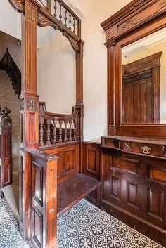 Brooklyn brownstone foyer interior Victorian woodwork | by techpro12