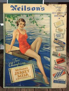 RARE Early NEILSON'S Jersey Milk Chocolate Pin Up Swimsuit Esther Williams? Sign