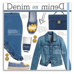 """""""Double Down on Denim"""" by alexandrazeres ❤ liked on Polyvore featuring White House Black Market, Chiara Ferragni, Chanel, Nails Inc., Shourouk, outfit, denim, Denimondenim and denimoutfit"""
