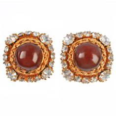 CHANEL Poured Glass Cabochon Earrings
