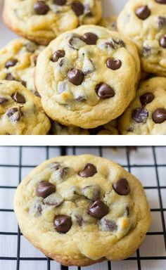 Chocolate Chip Pudding Cookies Soft, chewy chocolate chip cookies made with pudding to keep them soft! Perfect for dunking in a cold glass of milk, sandwiching around ice cream, or warm and gooey straight out of the oven. Chocolate Chip Pudding Cookies, Chocolate Chip Recipes, Chocolate Chip Cookie With Vanilla Pudding Recipe, Chocolate Cake, Vanilla Pudding Desserts, Homemade Chocolate Chip Cookies, Homemade Snickers, Melted Chocolate, Chocolate Chips