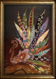Adapt for Australia - lyre bird? Leaf Crafts, Fall Crafts, Leaf Projects, Art Projects, Arte Country, Painted Leaves, Hand Painted, Feather Art, Arte Floral