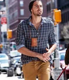 beanie, blue checkered shirt, leather pouch, brown jeans / men fashion