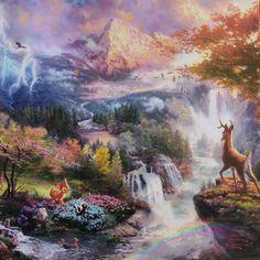 bambi watch | Bambi's First Year 14x14 Gallery Wraps Canvas Thomas Kinkade Disney ...