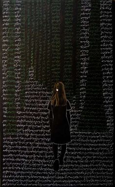 Katayoun Rouhi --  She uses Persian calligraphy in her perspectives.
