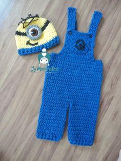 Cochet Minion inspired baby set. Conjunto para bebê inspirado nos Minions em crochê.