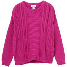 Monki Pam knitted top ($17) ❤ liked on Polyvore featuring tops, sweaters, shirts, pink, fuchsia heart, shirts & tops, fuschia top, pink heart sweater, pink sweater and fuschia pink tops