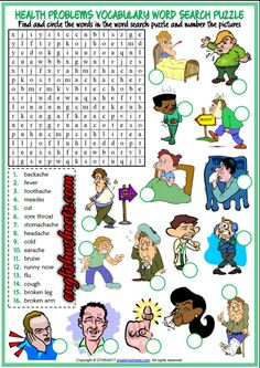 Health Problems, Illnesses, Ailments Esl Printable Word Search Puzzle Worksheet For Kids