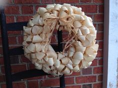 Natural Corn Husk Wreath Corn Shuck Wreath by TwigsVinesNBrambles