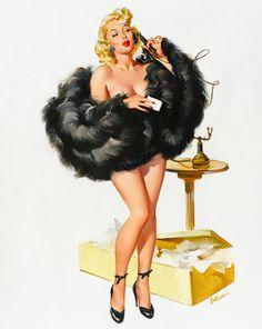 "Wall Art-Reproduction Vintage PINUP-Perfect for framing- Sexy Pin-up Girl Joyce Ballantyne ""Black Boa""(American, 1918-2006), Print 8 x 10"""