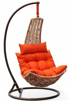 Epoxy-coated aluminum frames w/ resin wicker Hardware Eye lag S-hook Chain Cushions One comfy pillow Easy to maintain, the gorgeous-looking synthetic weave furniture focuses on appealing modern shapes without neglecting comfort. - I love to swing and would LOVE to have this chair!