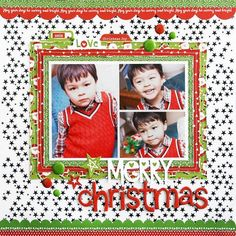 Bella Blvd Make It Merry collection and Clear Cuts specialty paper. Merry Christmas layout by creative team member Laura Vegas.