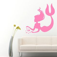Wall Decals Girl Mermaid With Fish Home Vinyl by DecalMyHappyShop wall decals