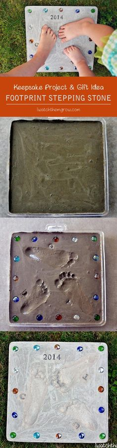 This DIY footprint stepping stone is a perfect keepsake for the garden! Makes a really cute gift for grandparents and Mother's Day or Father's Day! #giftsformothers