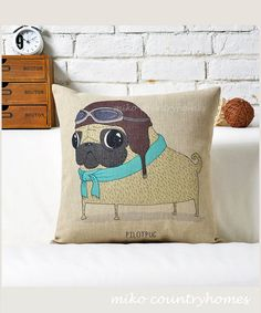 "$15 | Pug Inspired Series | Linen Throw Pillow Cover | Decorative Home Décor | 45x45cm 18""x18"" #homedecor #pillowcovers #pug"
