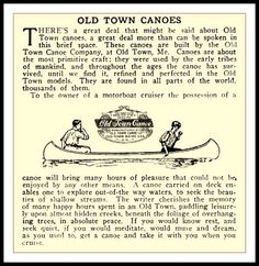 1909 Vintage Advertising Old Town Canoe Co , Old Town Maine | Flickr - Photo Sharing!