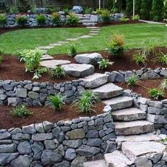 Large backyard landscaping ideas are quite many. However, for you to achieve the best landscaping for a large backyard you need to have a good design. Stone Backyard, Small Backyard Gardens, Backyard Garden Design, Backyard Designs, Backyard Ideas, Hillside Garden, Sloped Garden, Terrace Garden, Garden Oasis