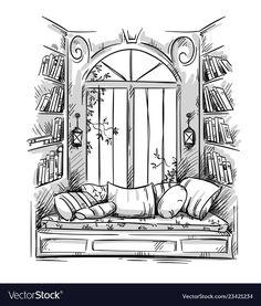 Reading nook cozy window seat drawing vector image on VectorStock Key Drawings, Pencil Art Drawings, Art Drawings Sketches, Sketch Art, Doodle Drawings, Window Drawings, Detailed Drawings, Architecture Drawing Sketchbooks, Interior Architecture Drawing