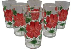 Floral Glasses, S/6, $125/75 on OneKingsLane.com