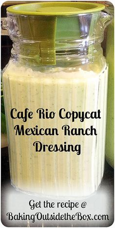 Cafe Rio Copycat Mexican Ranch Dressing Recipe ~ Creating & Baking Outside the Box - The Cafe Rio Copycat Mexican Ranch Dressing is a toss-it in-and-spin-it in the blender recipe that - Mexican Salad Dressings, Mexican Salads, Salad Dressing Recipes, Mexican Food Recipes, Taco Salads, Dressing For Taco Salad, Avacado Dressing, Mexican Pasta, Chopped Salads