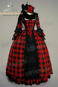 Victorian Rococo Lolita Jacquard red Square Neckline Ball Dress Floor Length, Brocade > STEAMPUNK STORY - VETROB079   Shop…