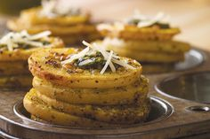 This Pesto Parmesan Potato Stackers recipe includes Roasted Yukon Gold potato stacks layered with fresh basil pesto and melted Parmesan cheese. Parmesan Potatoes, Garlic Mashed Potatoes, Sliced Potatoes, Yellow Potatoes, Potato Dishes, Potato Recipes, Potato Ideas, Vegetable Recipes, Potato Nutrition