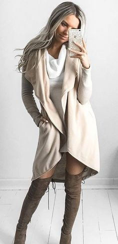 fall outfit / white sweater + over the knee boots + vest