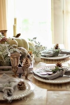 Craftberry Bush: Fall Tablescape Tour...love the Dusty Miller with the white pumpkins...earlier Craftberry Bush used hydrangeas with pumpkins..great idea to mix flowers & herbs with pumpkins