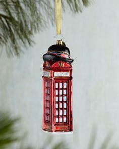 Allo & Allo British Phone Booth Christmas Ornament by Christopher Radko