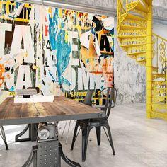 Artgeist Wallpaper Street Poster (Decoration , Wall murals , Wall m. Dance Studio Design, Interior Design Studio, Interior Design Inspiration, Graffiti Murals, Wall Murals, Tanzstudio Design, Poster Xxl, Street Art, Tube Carton