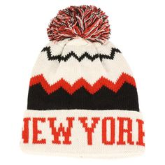 4264bd39104 Winter Unisex New York Zig Zag Pom Pom Cuff Knit Beanie Ski Hat Cap Black  White  CH  Beanie