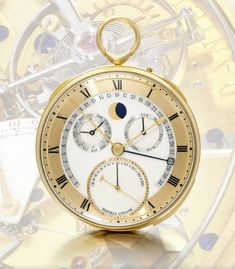 An yellow gold chronograph with Daniels Independent Double-Wheel Escapement, mean-solar and sidereal time, age & phase of the moon and equation of time indications circa Space Travellers' Watch. Sold for from an estimate of Fine Watches, Sport Watches, Cool Watches, Watches For Men, Unique Watches, Wrist Watches, Watch Complications, George Daniel, Luxury Watches
