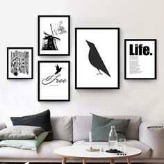Modern Nordic Minimalist Black White Animals Bird Art Print Poster Abstract Wall Picture Canvas Painting No Framed Home Decor