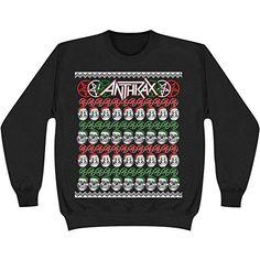 Anthrax Men's Not Man Skulls Christmas Sweatshirt Black - http://bandshirts.org/product/anthrax-mens-not-man-skulls-christmas-sweatshirt-black/