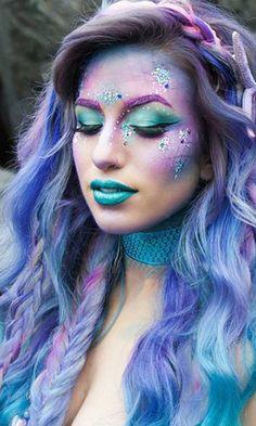 haare bunt färben meerjungfrau kostüm fasching best ever makeup products Carnival Hairstyles, Mermaid Hairstyles, Halloween Hairstyles, Retro Hairstyles, Party Hairstyles, Trendy Hairstyles, Wedding Hairstyles, Hair Colorful, Costume Carnaval