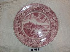"""Johnson Brothers Historic American View Of Boston Massachusetts 10"""" Plate Made in England Maroon Highly Decorated Boston Plate Johnson Bros by VigorouslyVintage on Etsy"""