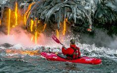 Kayaker paddles to within feet of molten lava from Kilauea volcano, Hawaii