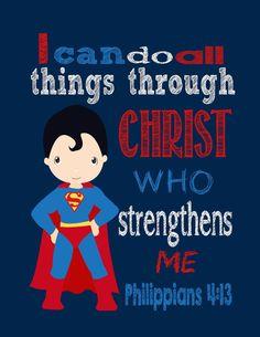Superman Superhero Christian Printable Nursery by PixiePaperSTL