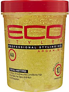 Eco Styler Moroccan Argan Oil Styling Gel shines, smoothes, and conditions the hair. Maximum hold and made with pure Argan oil. This can be found at Sallys Beauty Supply, some Target and Walgreens.and other wig beauty supply stores. Argan Oil Gel, Pure Argan Oil, Natural Hair Care, Natural Hair Styles, Eco Styler Gel, Natural Gel Nails, Hair Protein, Hair Gel, Kinky Hair