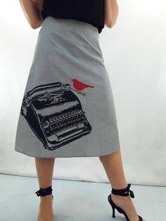 Typewriter Print Gray Skirt - Aline Cotton Skirt - Silk Screen Printed to Order on Etsy, $49.00