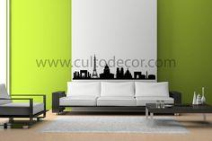 Paris - Skylines em vinil de corte com 18 cores diferentes e 2 acabamentos (brilhante/mate). Saiba tudo em http://www.cultodecor.com