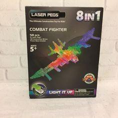 Laser Pegs 8-in-1 Combat Fighter Building Set 2014 Sealed #LaserPegs